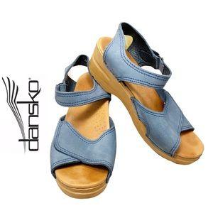 Dansko- Blue Suede Open Toe Wedge Sandal- 39 / 8.5